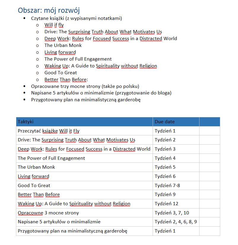 Przykładowy plan dla jednego z obszarów - Mój rozwój