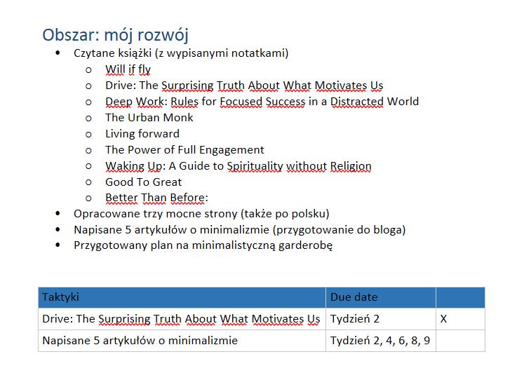 Plan na konkretny tydzień - obszar Mój rozwój